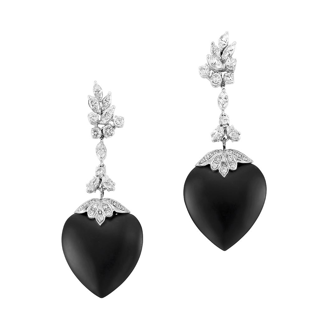 Lot image - Pair of Platinum, Diamond and Black Onyx Pendant-Earclips