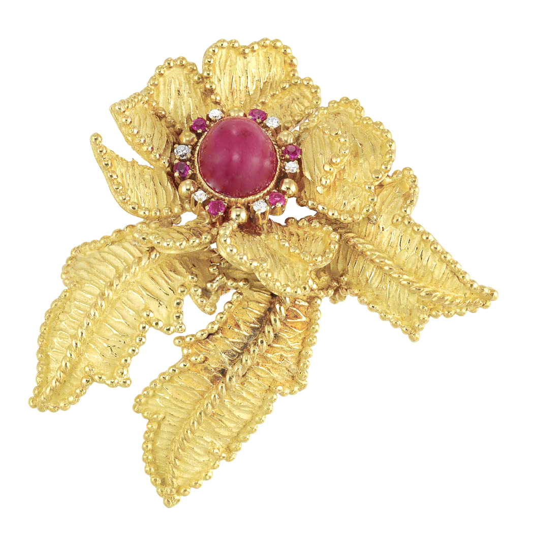 Lot image - Gold, Cabochon Ruby, Ruby and Diamond Leaf Brooch, Tiffany & Co.