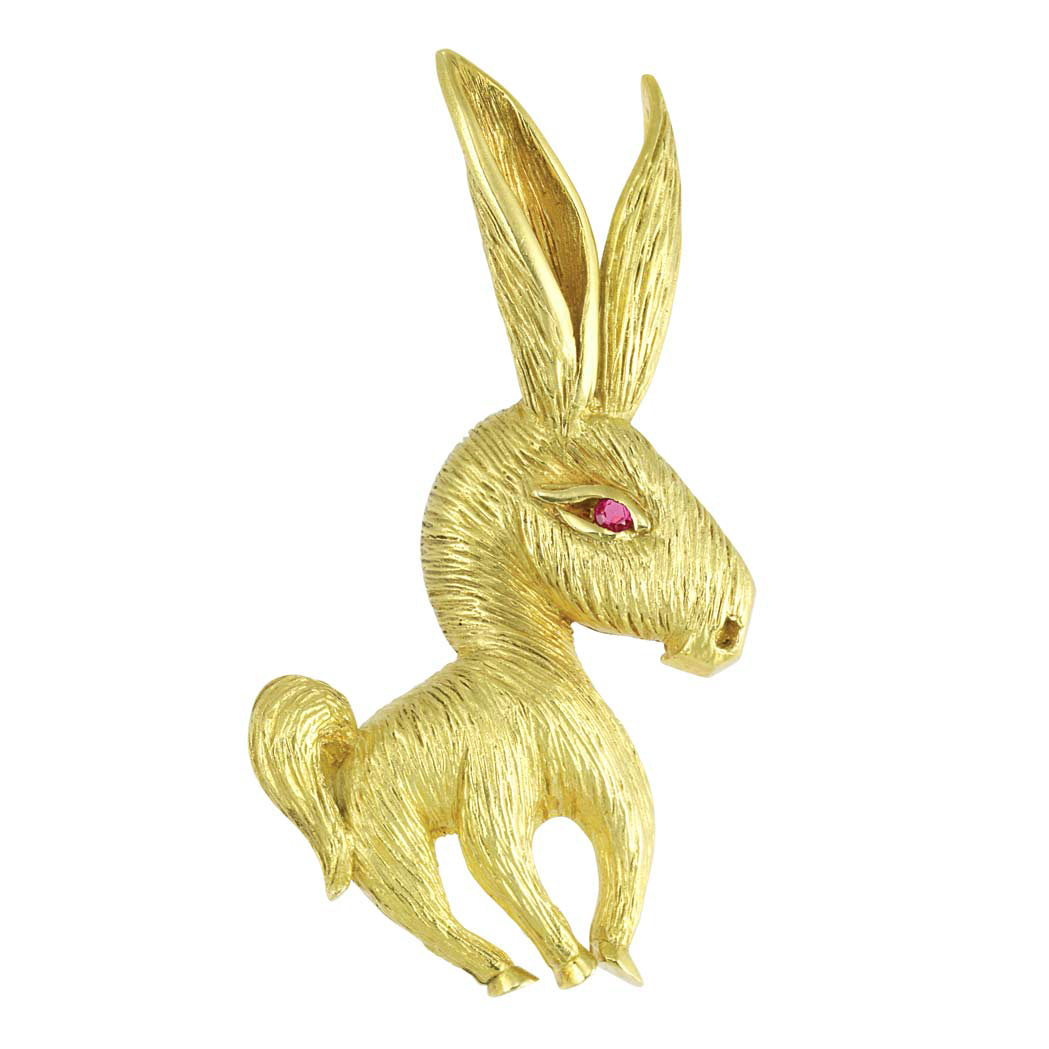 Lot image - Gold and Ruby Donkey Pin, Cartier