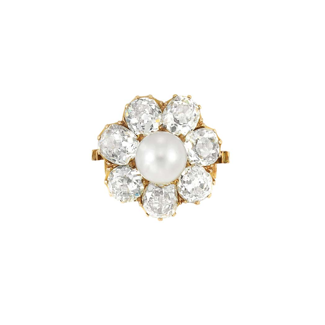 Lot image - Antique Gold, Pearl and Diamond Pin