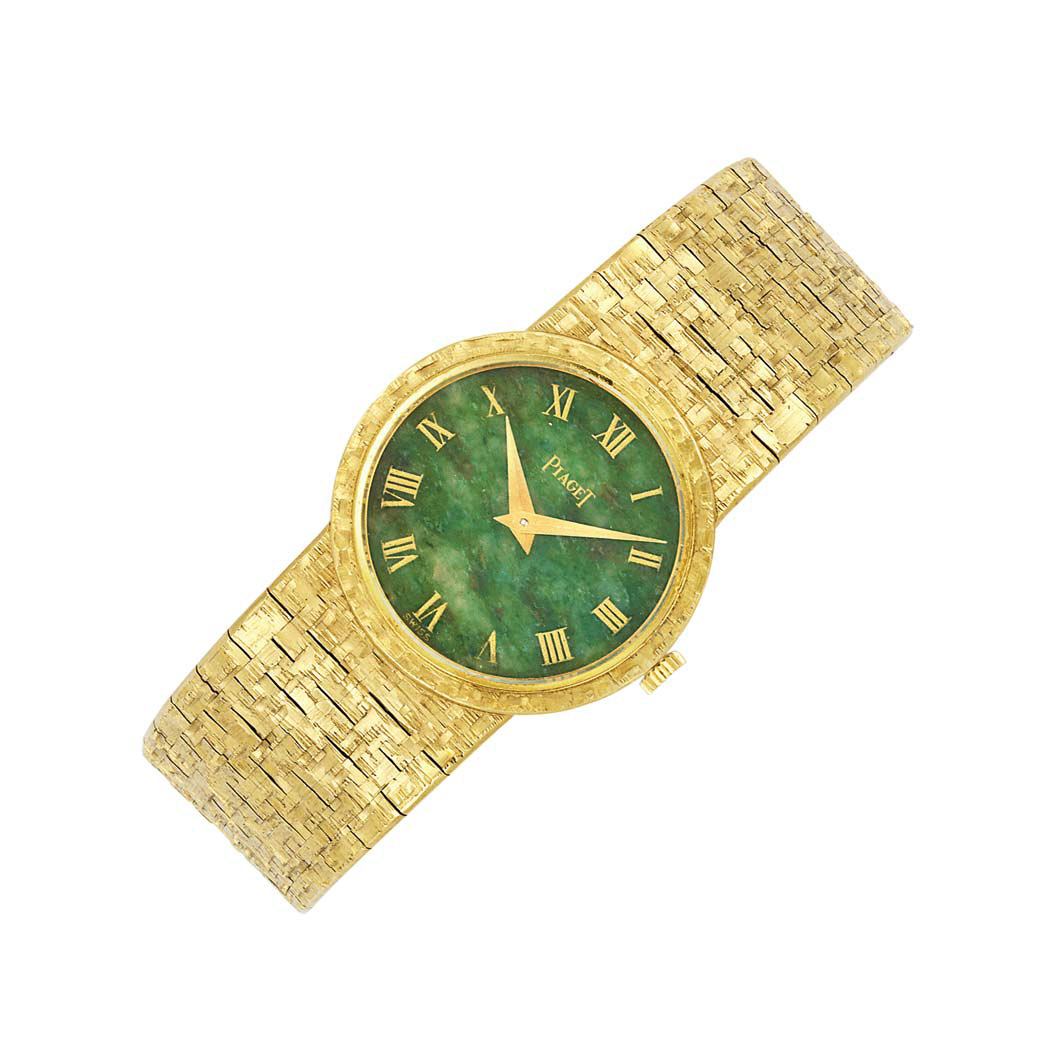 Lot image - Gold and Nephrite Wristwatch, Piaget
