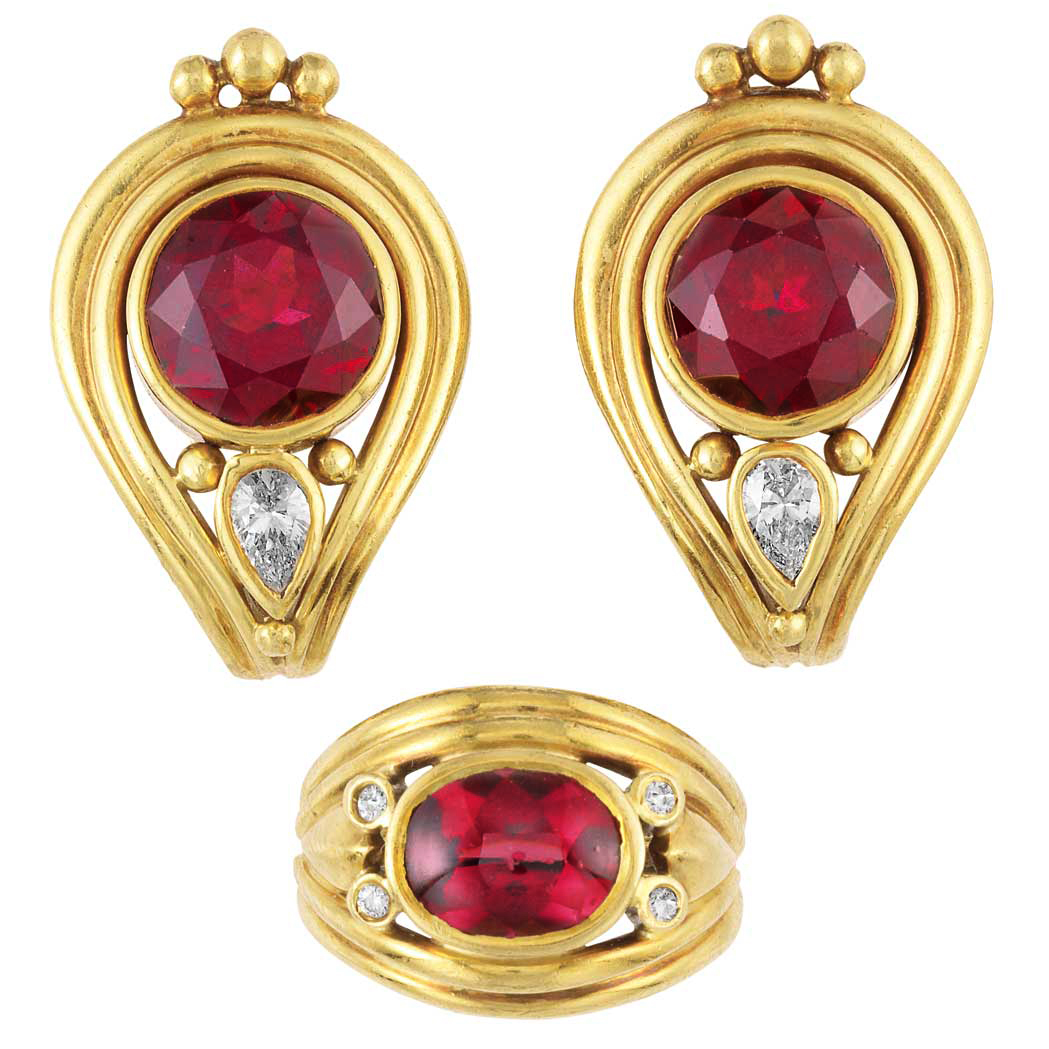 Lot image - Pair of Gold, Garnet and Diamond Earclips and Ring, Helen Woodhull