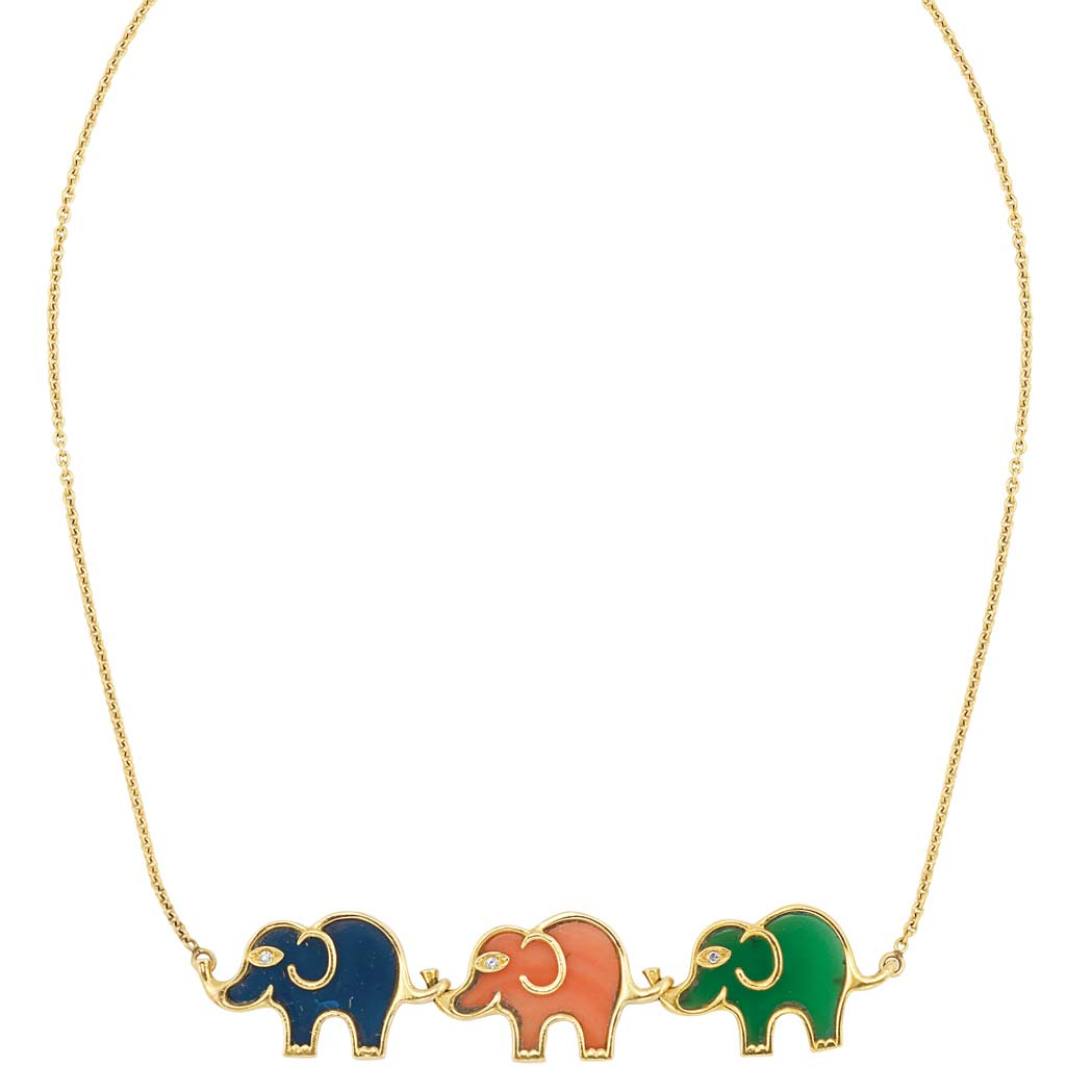 Lot image - Gold, Hardstone and Diamond Elephant Chain Necklace, Van Cleef & Arpels