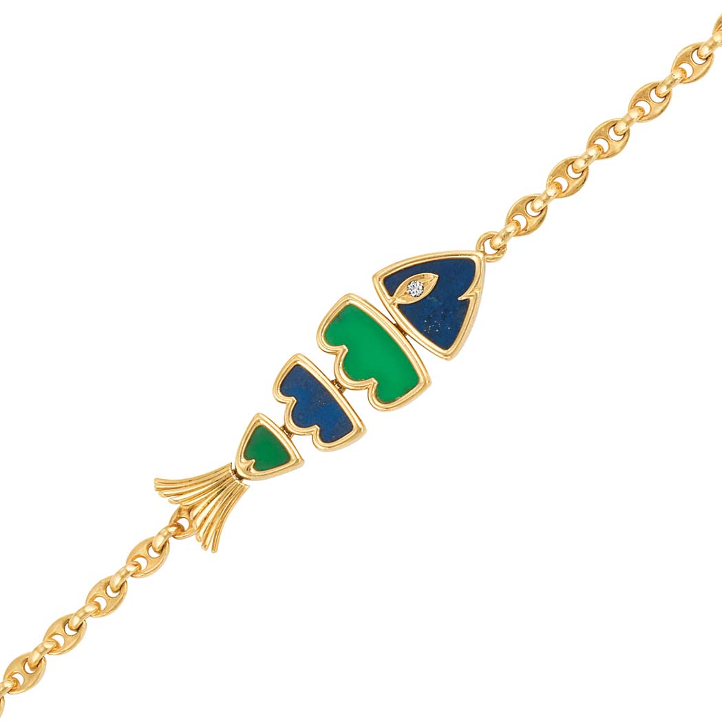 Lot image - Gold, Lapis, Dyed Green Chalcedony and Diamond Fish Link Bracelet, Van Cleef & Arpels