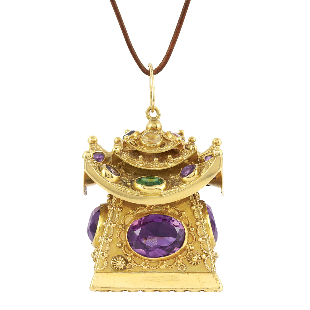 Lot image - Gold and Gem-Set Pagoda Pendant with Cord Necklace