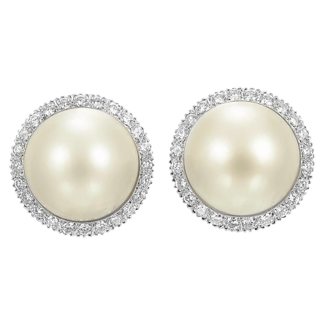 Lot image - Pair of White Gold, Mabe Pearl and Diamond Earclips