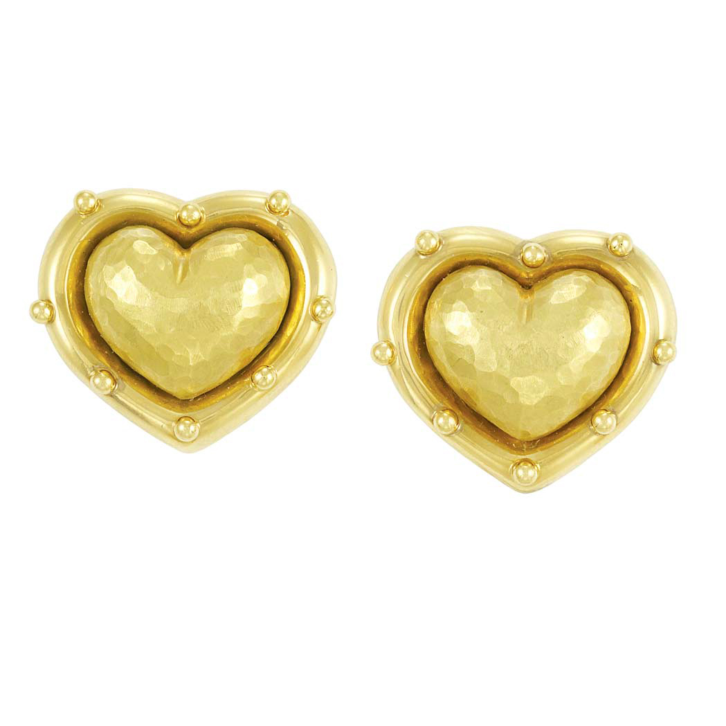 Lot image - Pair of Hammered Gold Puffed Heart Earclips, Tiffany & Co., Paloma Picasso