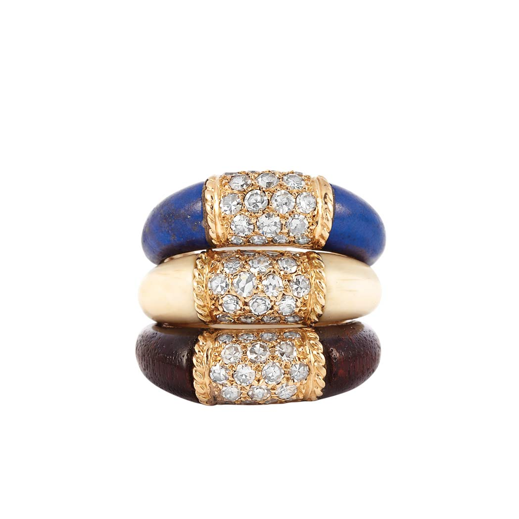 Lot image - Three Gold, Diamond and Hardstone Bombe Rings, Van Cleef & Arpels, France