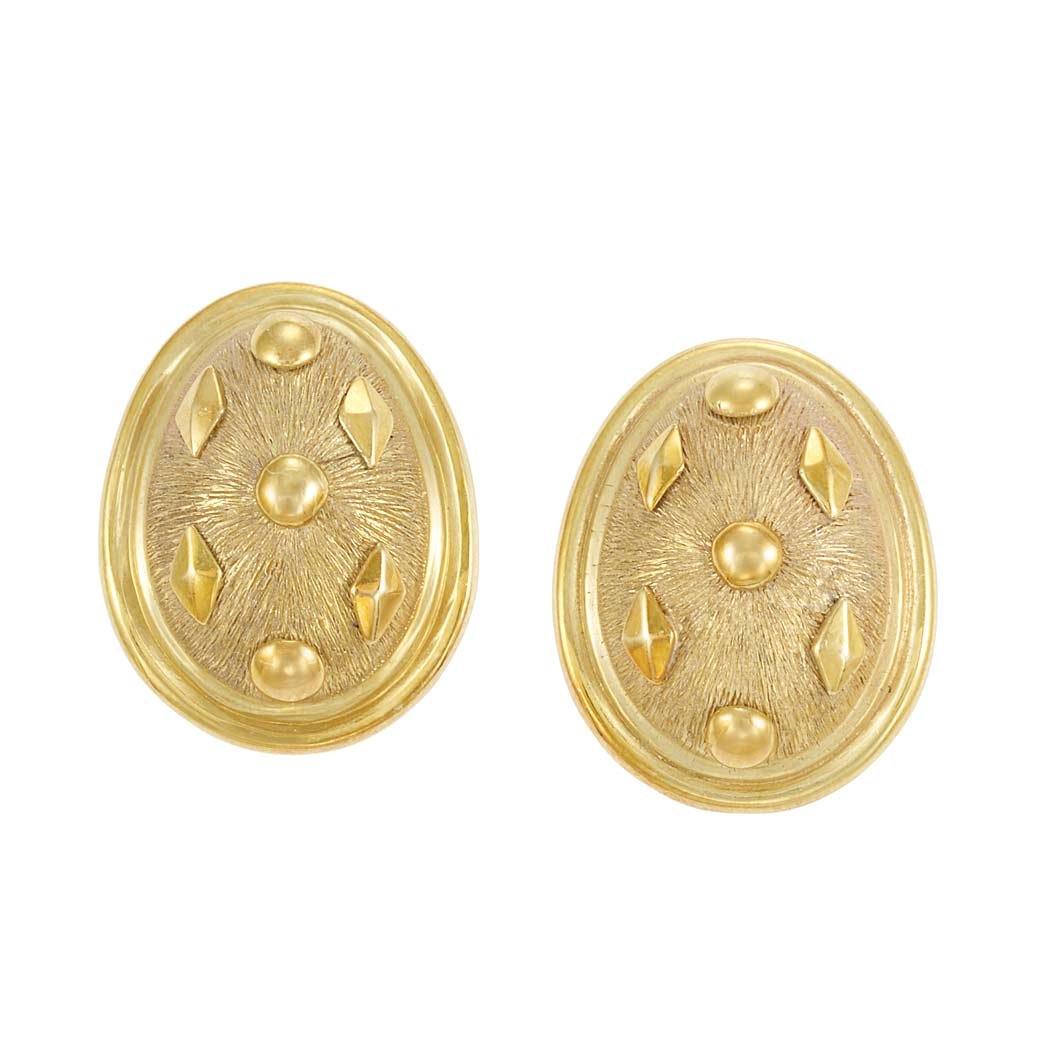 Lot image - Pair of Gold Earrings, Tiffany & Co., Schlumberger