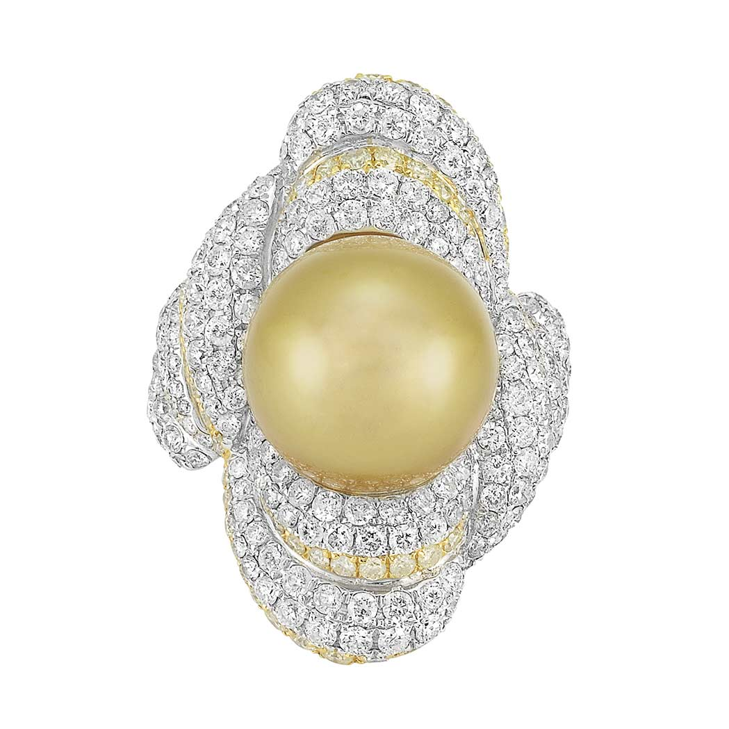 Lot image - White Gold, Golden Cultured Pearl, Diamond and Yellow Diamond Ring