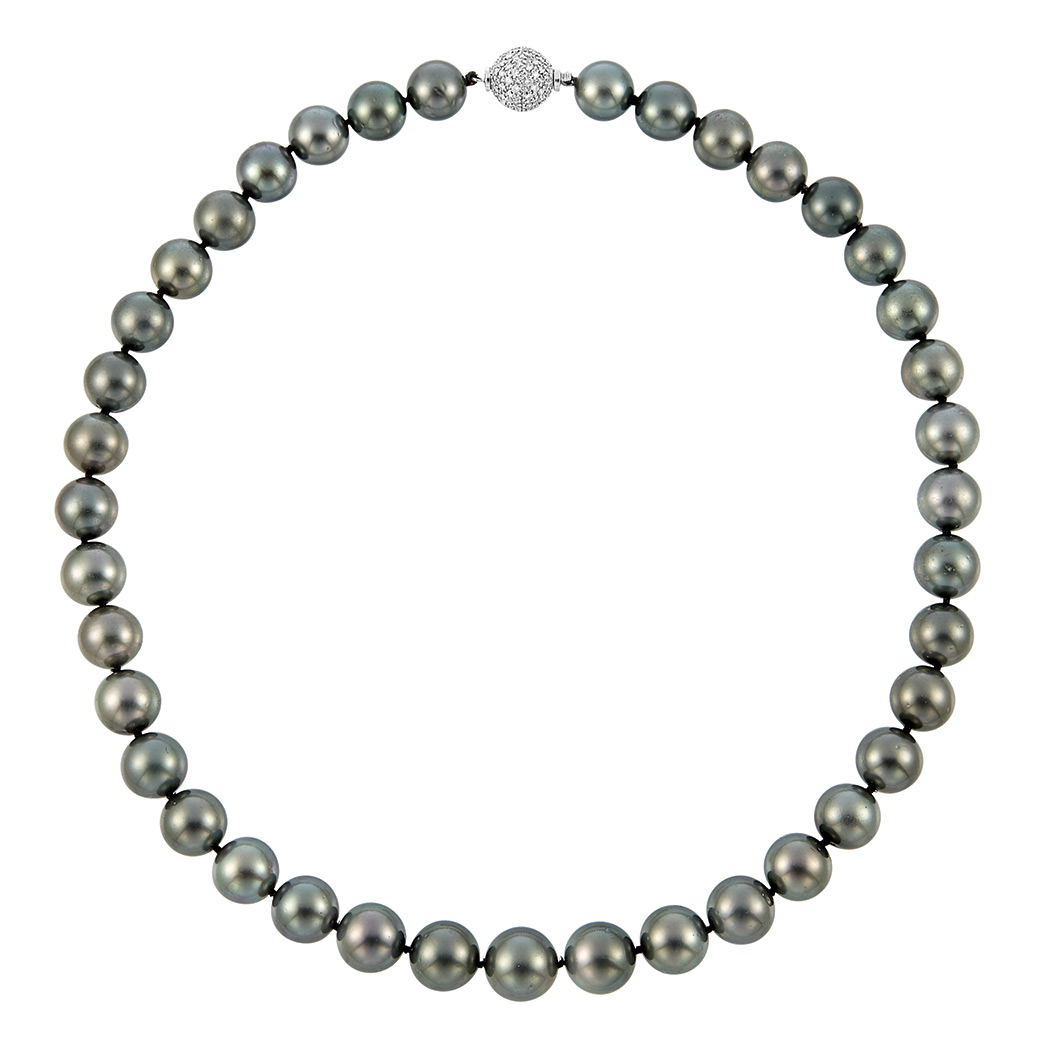 Lot image - Black Cultured Pearl Necklace with White Gold and Diamond Ball Clasp