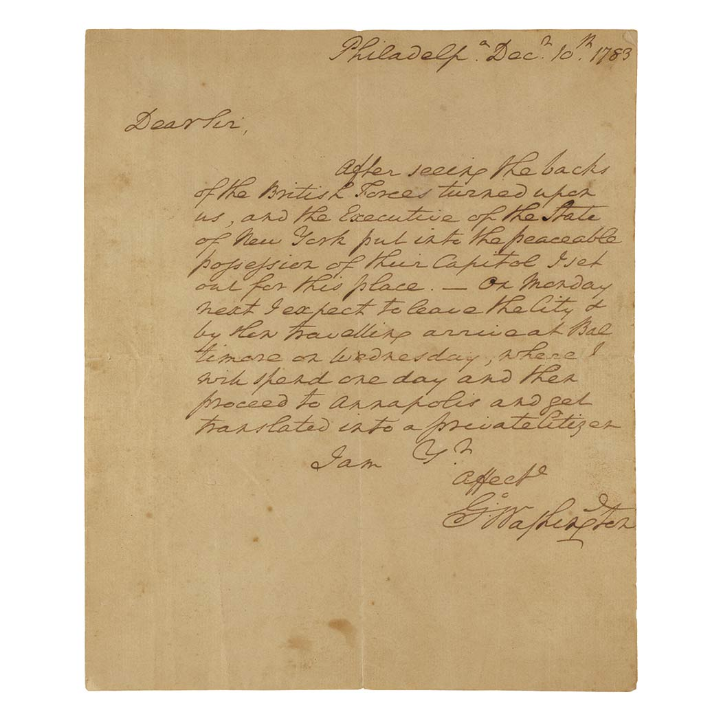 Lot image - WASHINGTON, GEORGE  Autograph letter signed to James McHenry