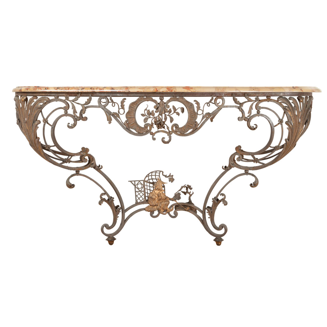 Lot image - Louis XV Style Gilt and Patinated-Steel and Iron Console