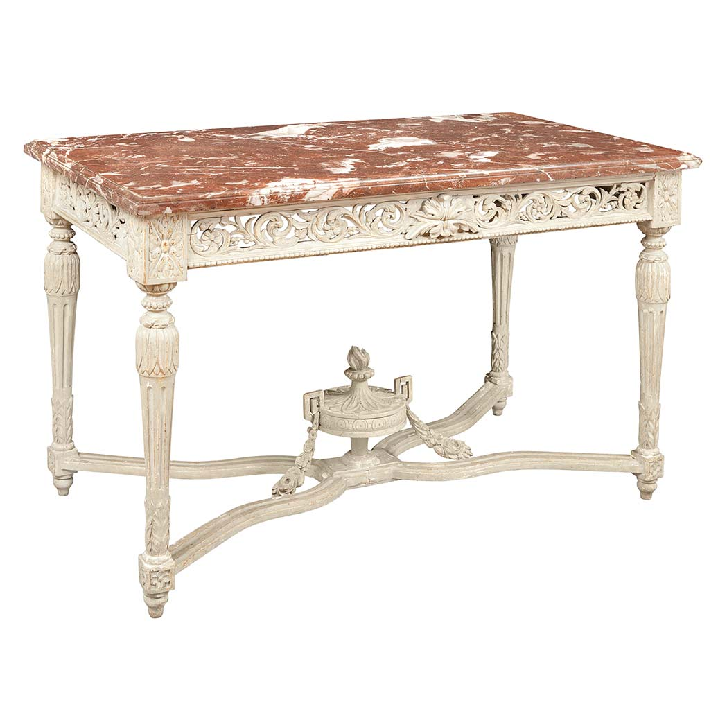 Lot image - Louis XVI Style Gray Painted Center Table
