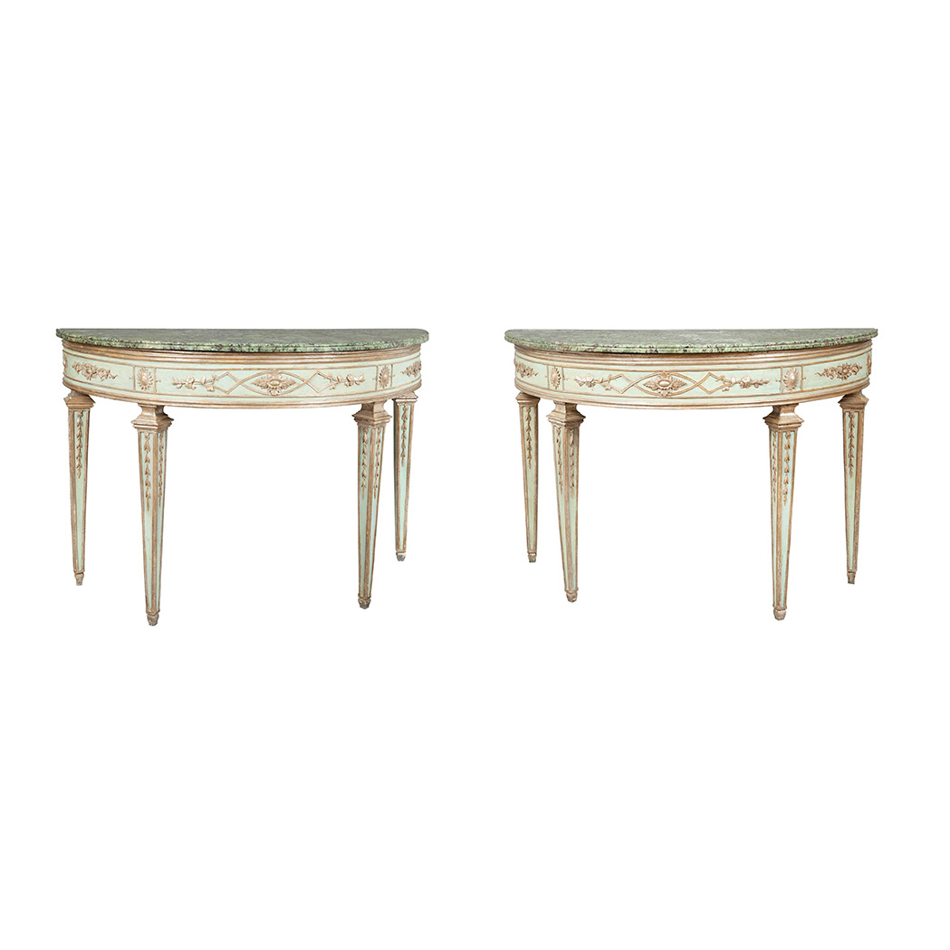 Lot image - Pair of Northern Italian Neoclassical Painted and Silver-Gilt Consoles
