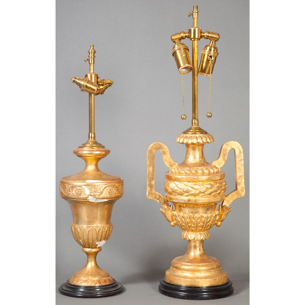 Lot image - Two Italian Neoclassical Style Gilt-Wood Lamps