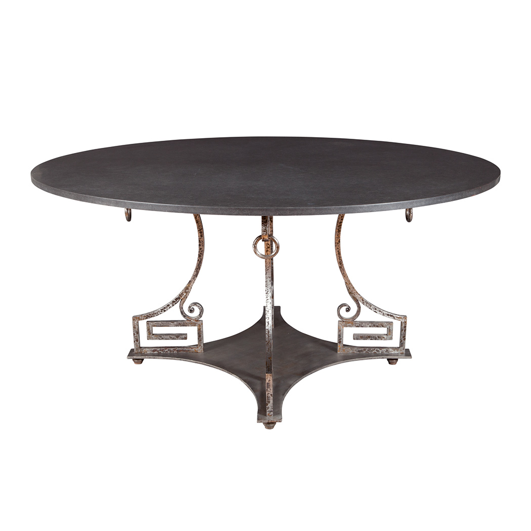 Lot image - Neoclassical Style Polished Wrought Steel Center Table