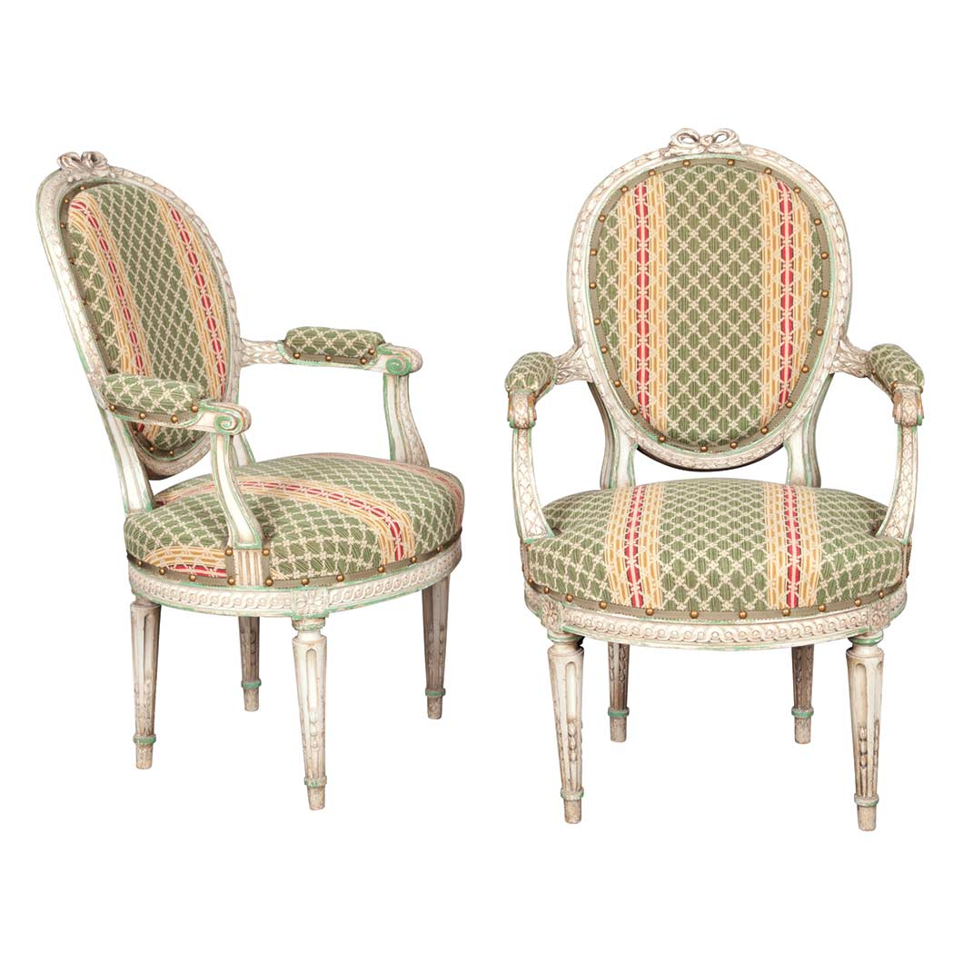 Lot image - Pair of Louis XVI Style Upholstered Painted Fauteuils