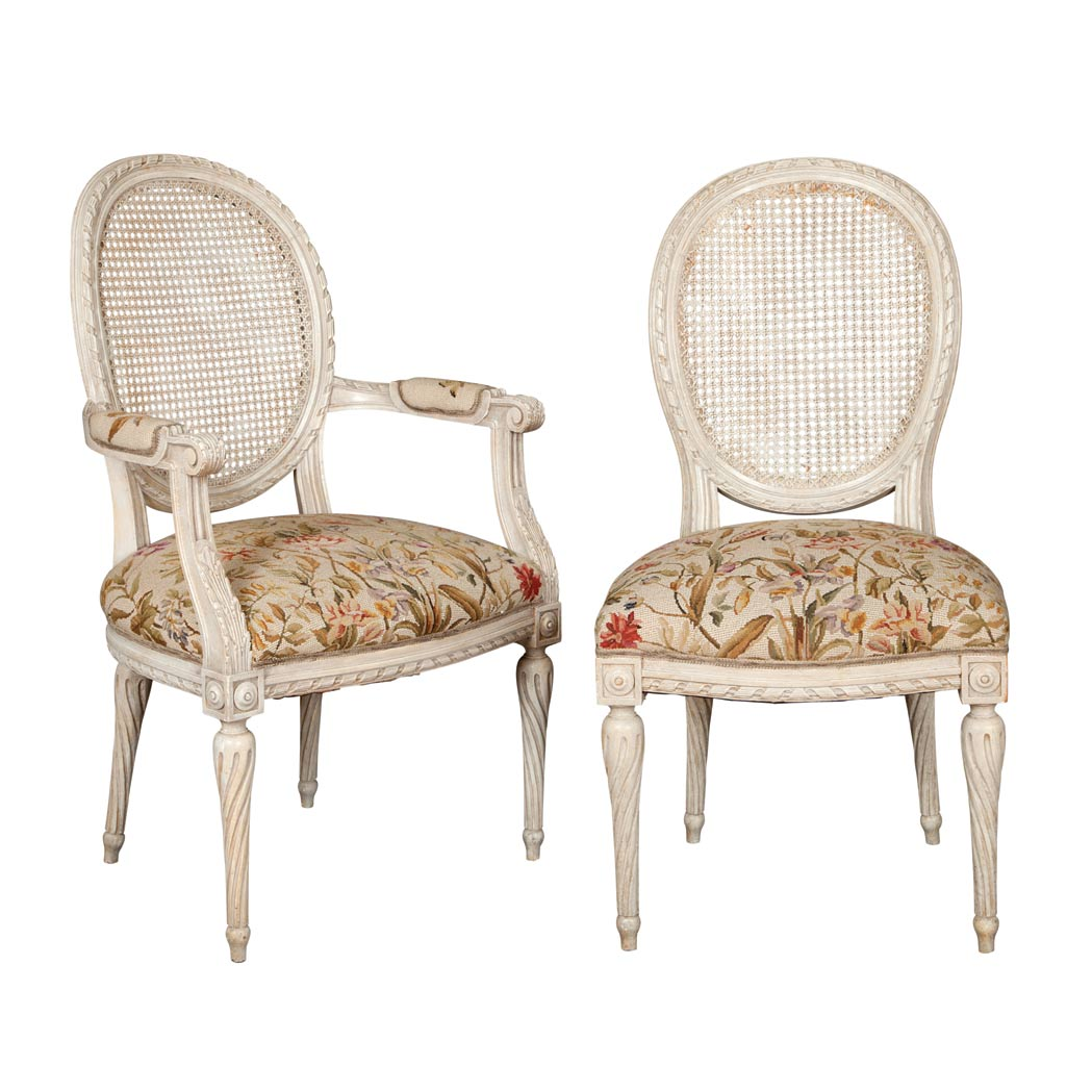 Lot image - Set of Four Louis XVI Style Painted and Caned Dining Chairs