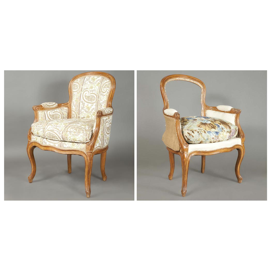 Lot image - Pair of Louis XV Style Fruitwood Bergeres