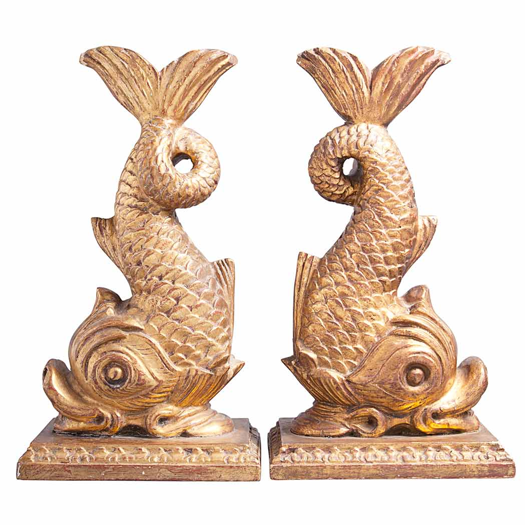 Lot image - Pair of Louis XVI Style Gilt-Wood Dolphin-Form Decorations