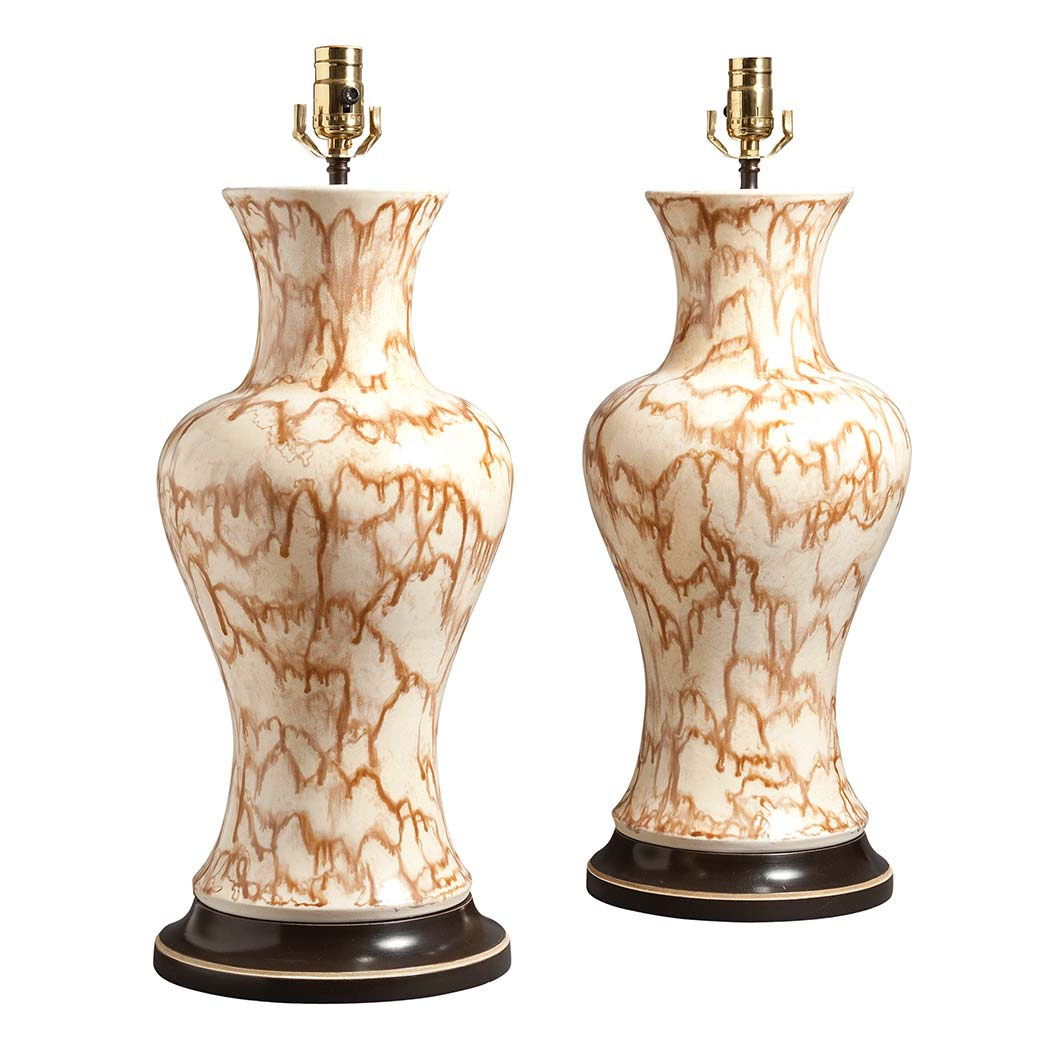 Lot image - Pair of Chinese Style Brown and White Glazed Porcelain Vases