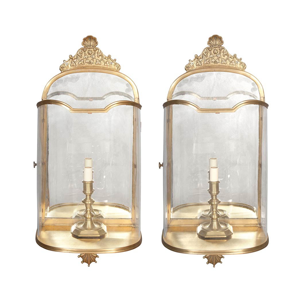 Lot image - Set of Four Italian Rococo Style Brass and Glass Sconces
