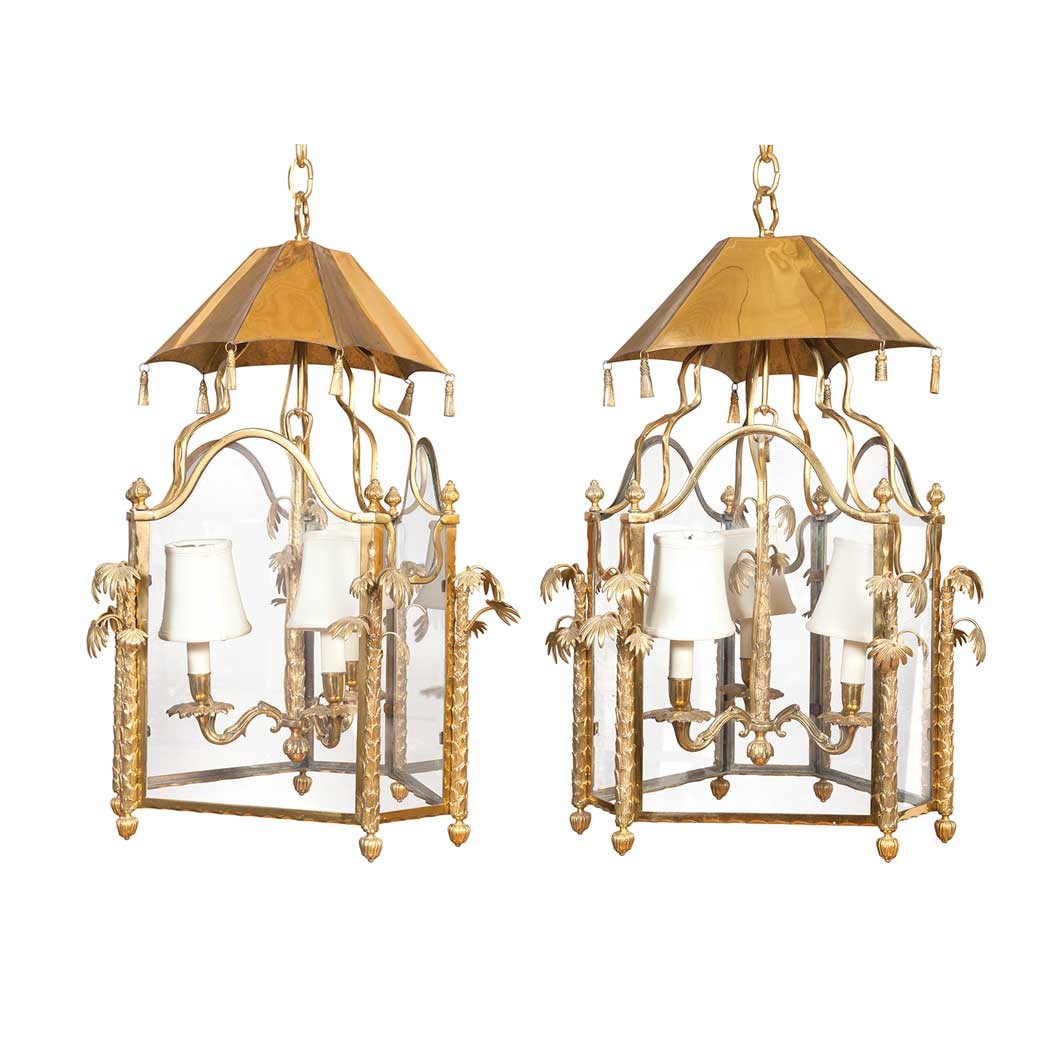 Lot image - Pair of Regency Style Brass and Glass Lanterns