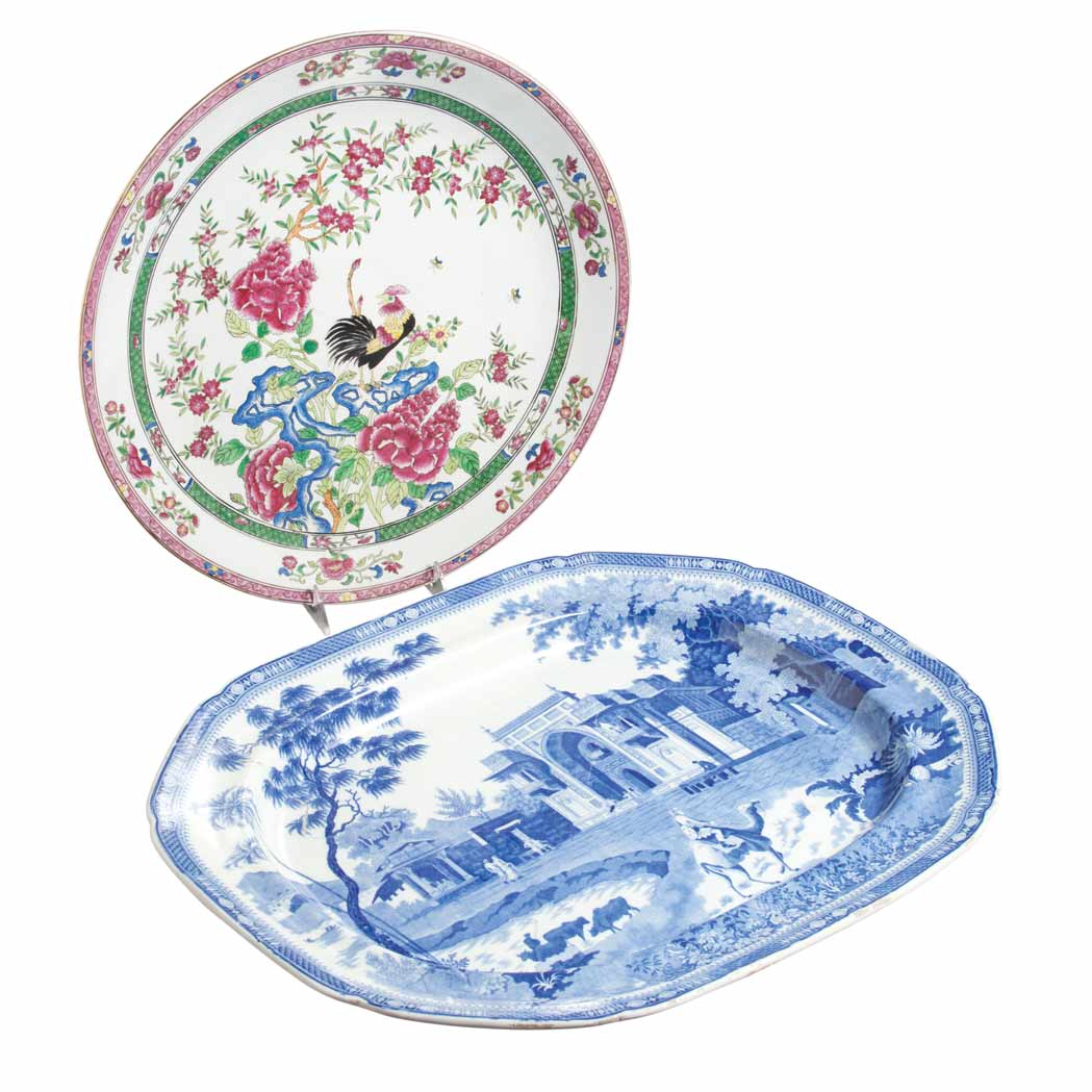 Lot image - English Transfer Decorated Pottery Platter and English Transfer Decorated Pottery Charger