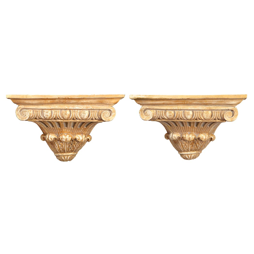 Lot image - Pair of Neoclassical Style Parcel Gilt and Painted Wood Brackets