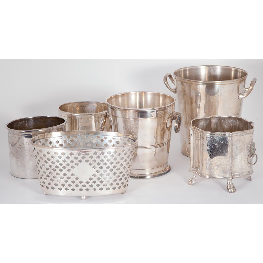 Lot image - Miscellaneous Group of Six Silver Plated Buckets and Jardinieres