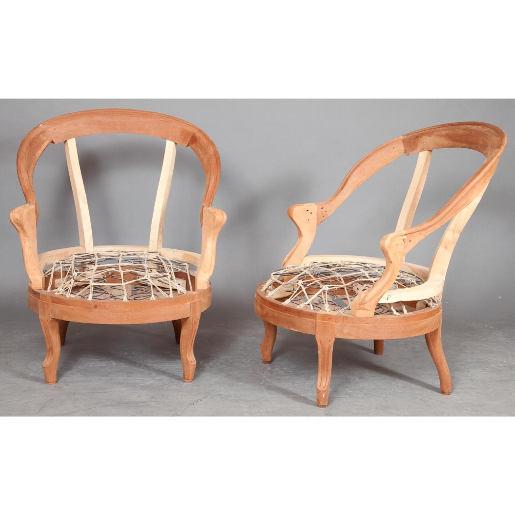 Lot image - Pair of Louis XV Style Unupholstered Walnut Bergere Frames