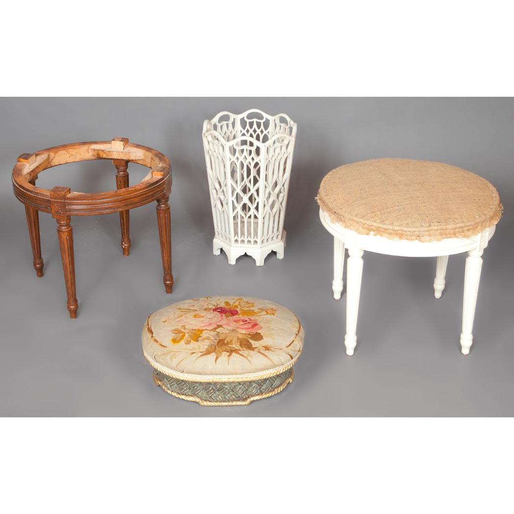 Lot image - Two Louis XVI Style Unupholstered Wood Stools