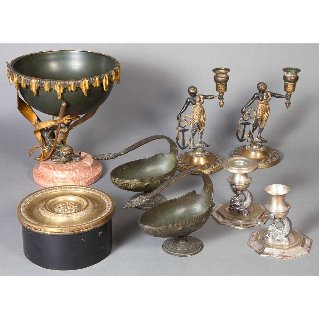 Lot image - Group of Neoclassical Style Bronze Table Articles