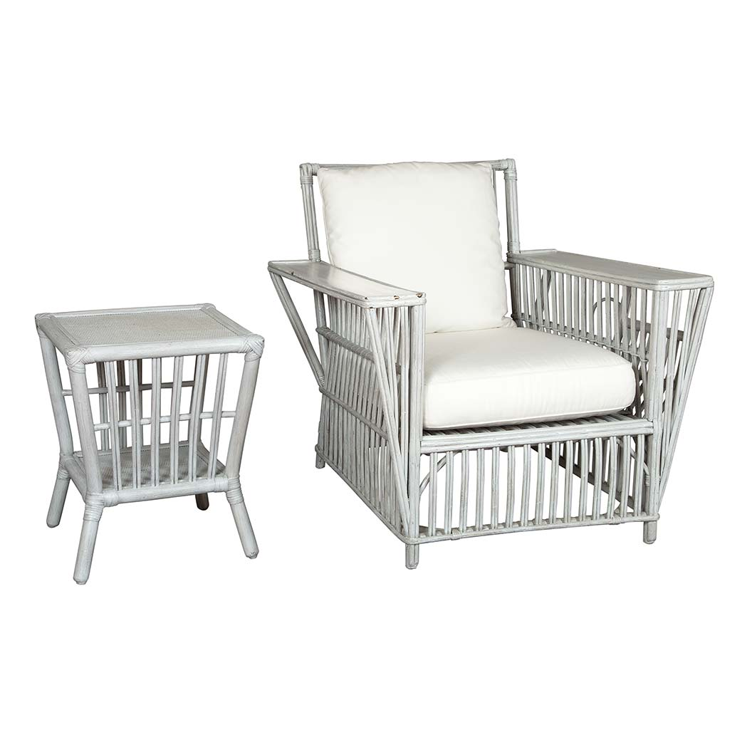 Lot image - Suite of Gray Painted Rattan Furniture
