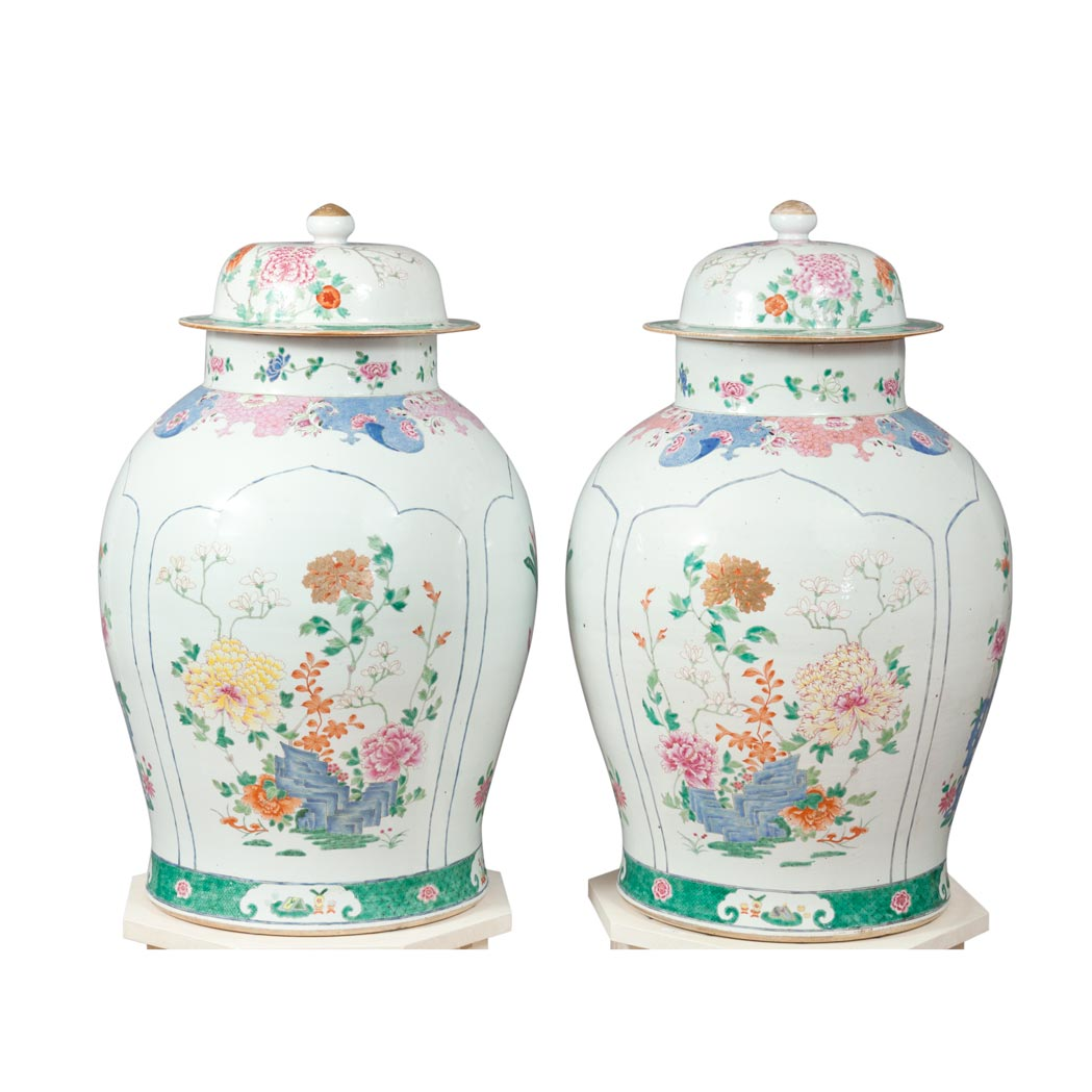 Lot image - Pair of Chinese Famille Rose Porcelain Covered Urns