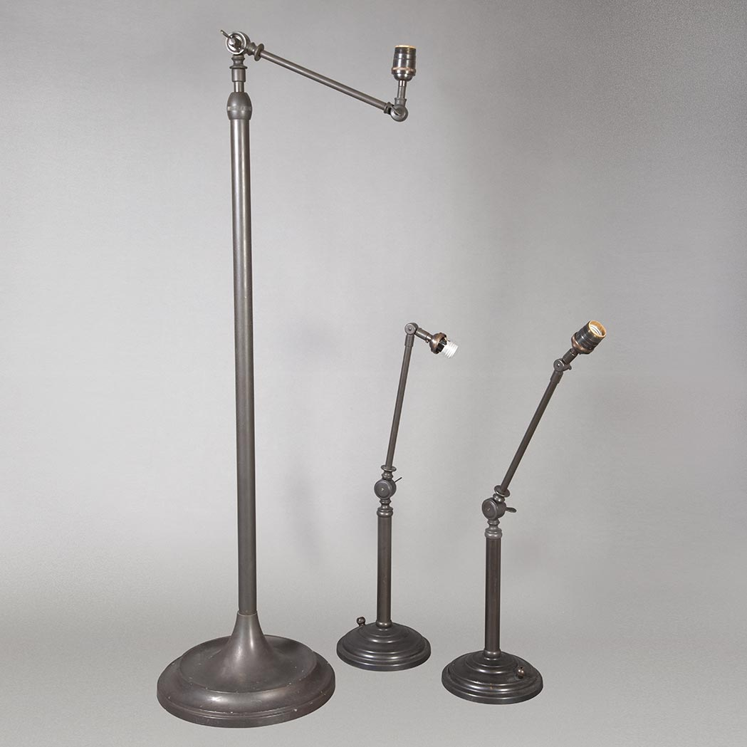 Lot image - Pair of Patinated-Metal Adjustable Lamps