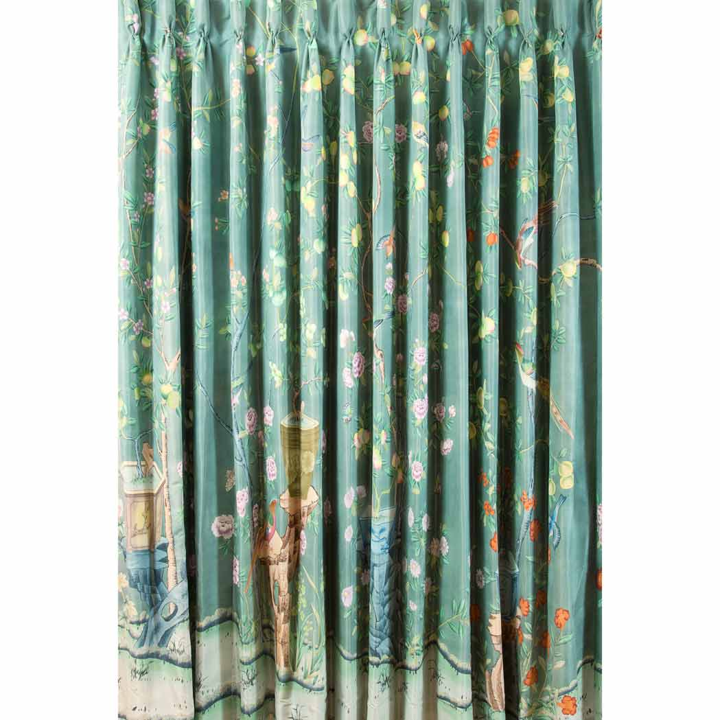 Lot image - Set of Three De Gournay Hand-Painted Silk Curtain Panels
