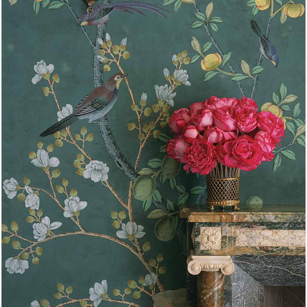 Lot image - Set of De Gournay Hand-Painted Indian Tea Paper Wallpaper Panels