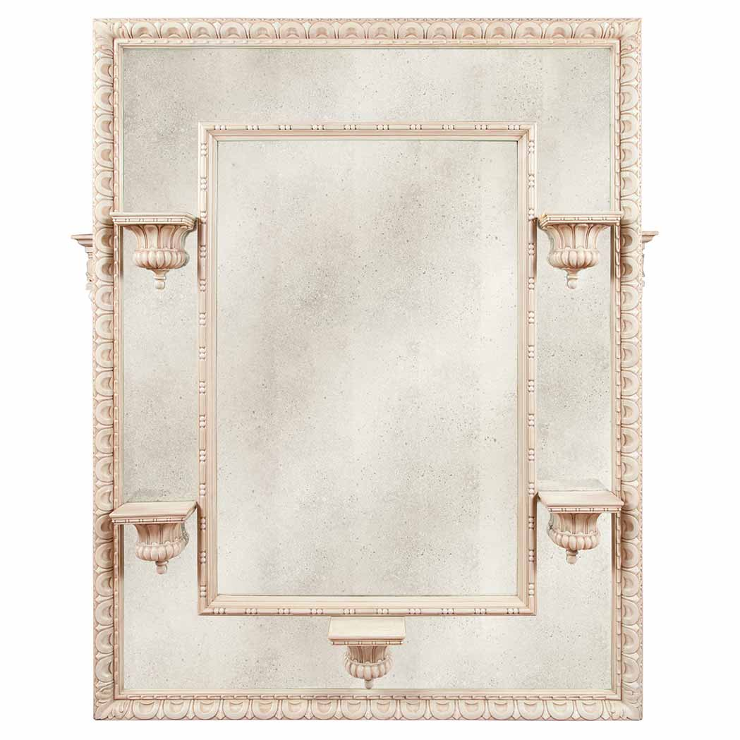 Lot image - Louis XVI Style Carved and Painted Mirror