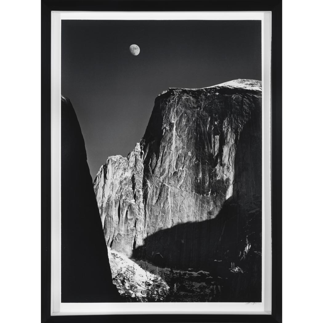 Lot image - ADAMS, ANSEL (1902-1984) Moon and Half Dome, Yosemite National Park [1960].