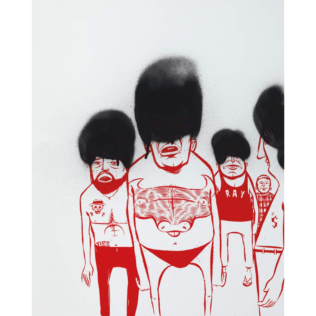 Lot image - Barry McGee American, b. 1966 Untitled (5 Men), 2003