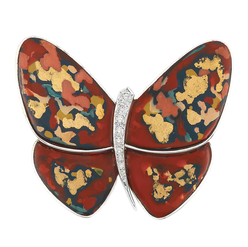 Lot image - White Gold, Hardstone, Gold, Diamond and Mother-of-Pearl Butterfly Clip-Brooch, Van Cleef & Arpels