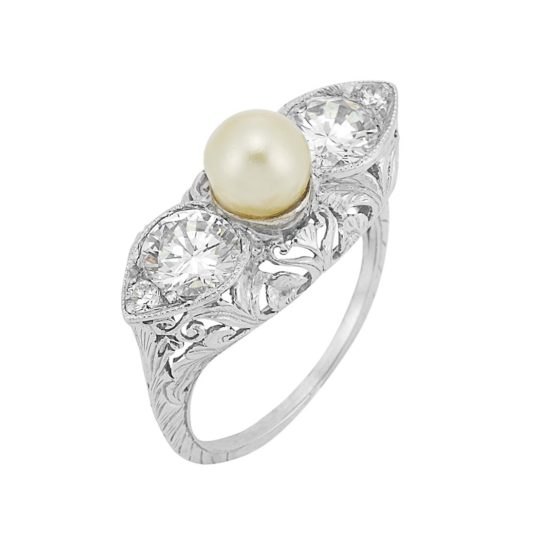 Lot image - Belle Epoque Platinum, Button Pearl and Diamond Ring