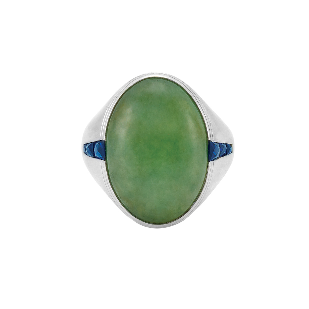 Lot image - Art Deco Platinum, Jade and Sapphire Ring