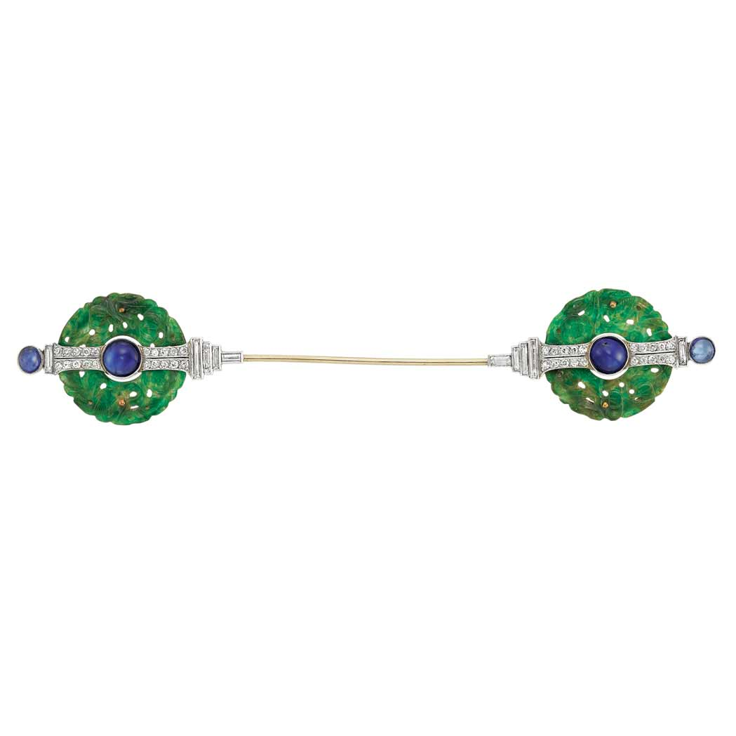 Lot image - Art Deco Platinum, Gold, Carved Jade, Cabochon Sapphire and Diamond Jabot