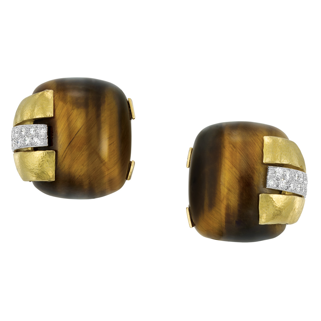 Lot image - Pair of Hammered Gold, Platinum, Tigers Eye and Diamond Earclips, David Webb