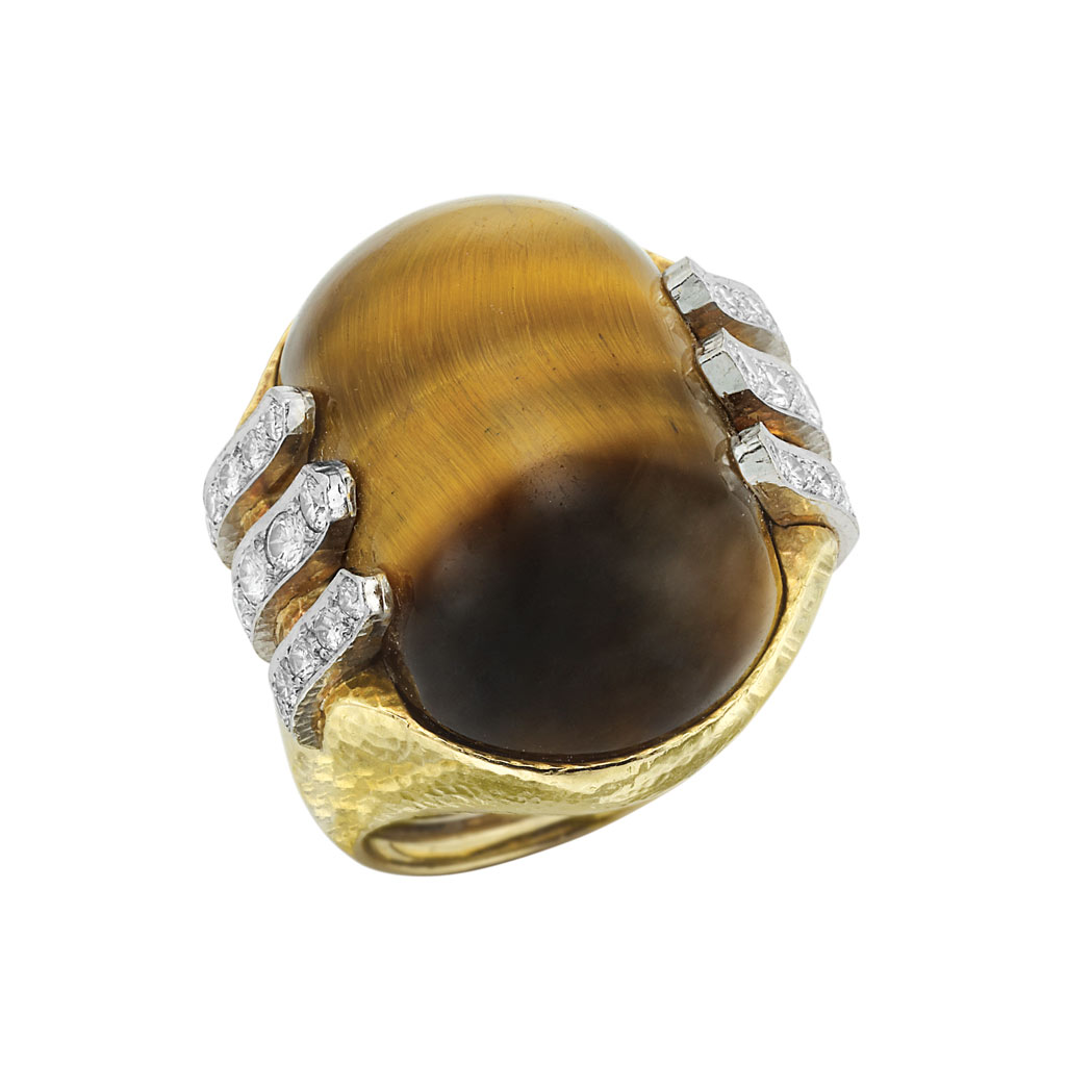 Lot image - Hammered Gold, Platinum, Tigers Eye and Diamond Ring, David Webb