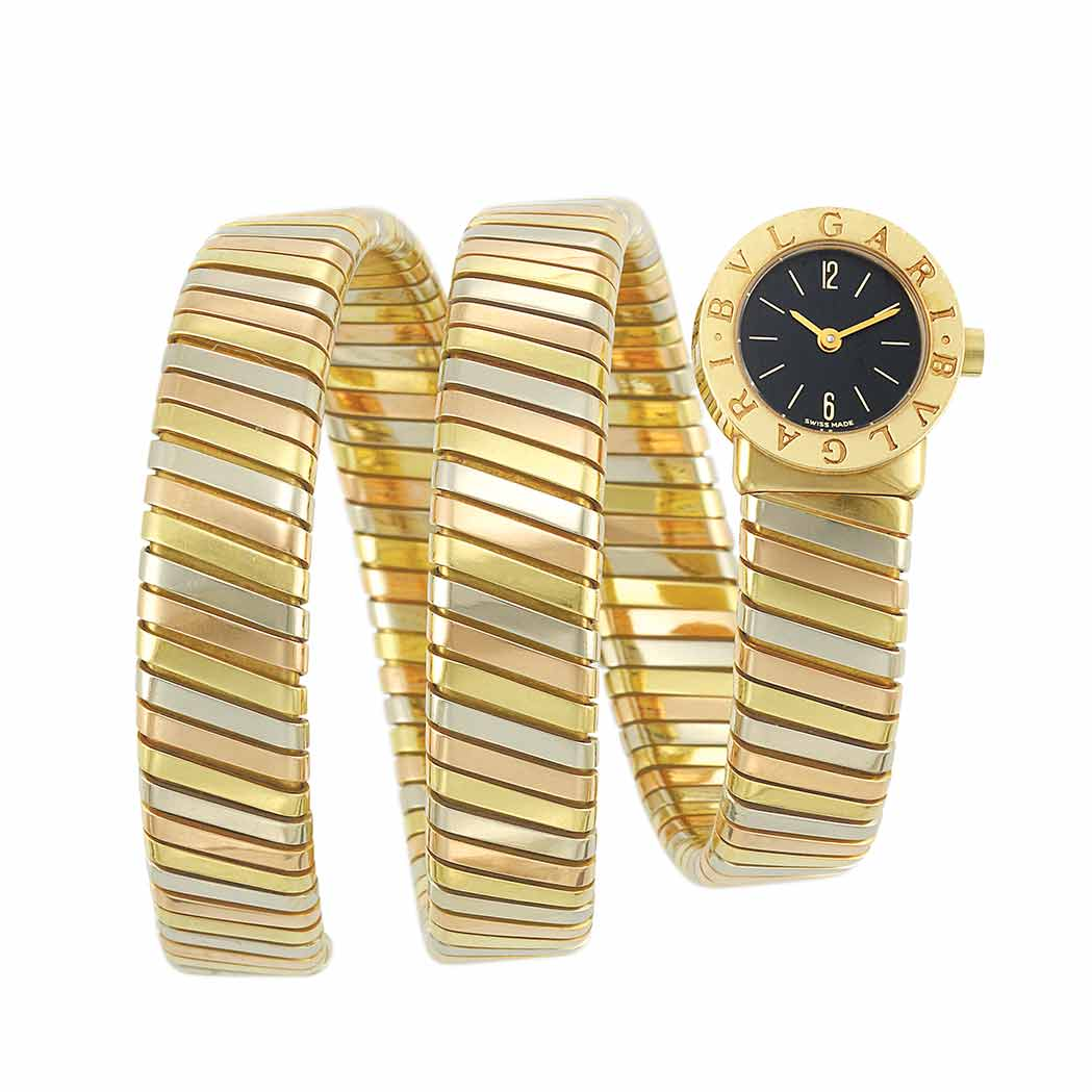 Lot image - Tricolor Gold Tubogas Coiled Bracelet-Watch, Bulgari