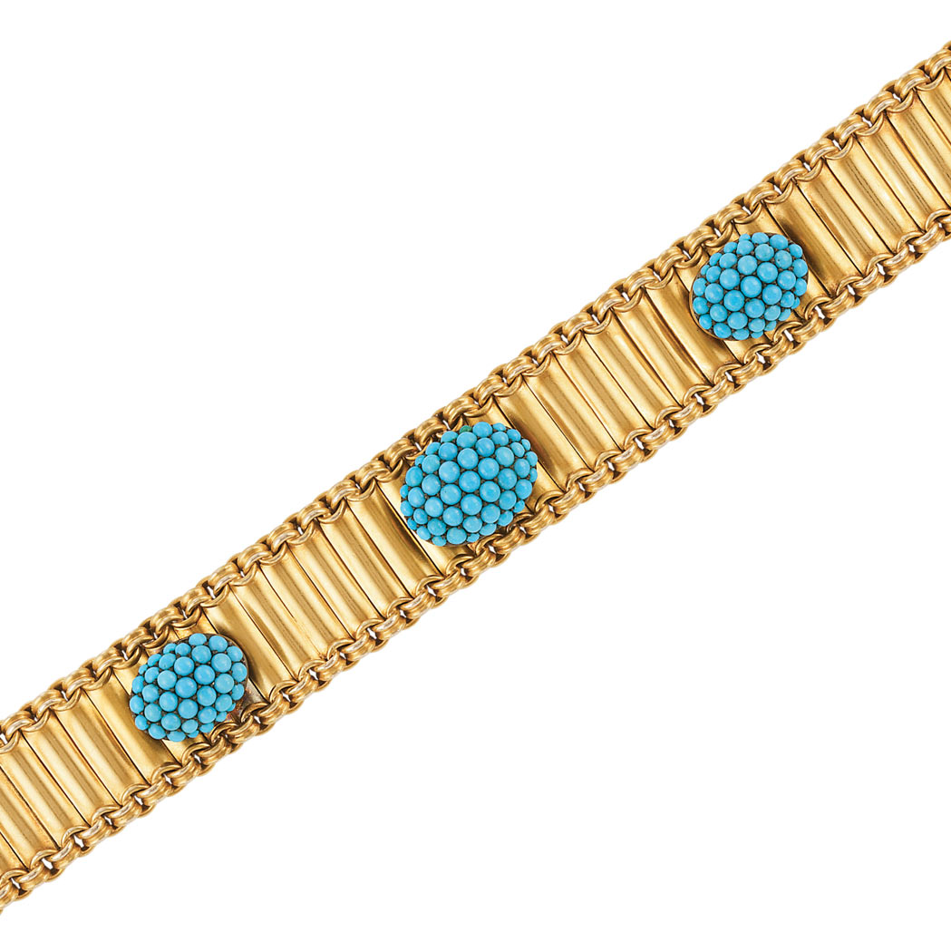 Lot image - Antique Gold and Turquoise Bracelet